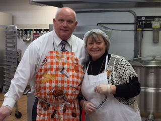 Photo submitted Rick Kenny and Sharon Privett, principals of McCreary Central High School, serving the students Thanksgiving Lunch.