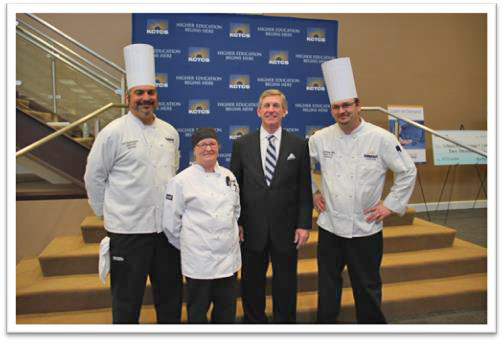 Photo submitted Above: From left, Chef Ed Nazario, SCC Culinary Arts student Betty Doyle, former KCTCS President Michael B. McCall and Chef Michael Wells at the retirement reception for McCall. SCC's Culinary Arts program provided southern appetizers with a twist for the event.