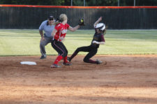 West gets tagged out at second on a steal attempt